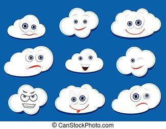vetorial, nuvens, caricatura