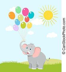 vetorial, nuvens, cartoon., ilustração, aniversário, sun., elefante, bebê, balões, feliz