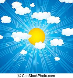 vetorial, nuvens, raios sol, e, pássaros