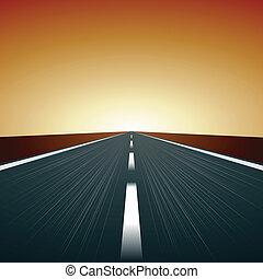 vetorial, obscurecido, estrada