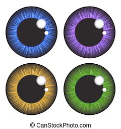 vetorial, olho, fundo, isolado, jogo, branca, realístico, desenho, íris
