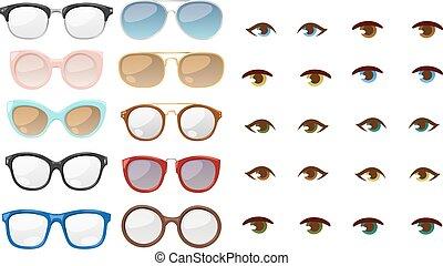 vetorial, olho, human, óculos