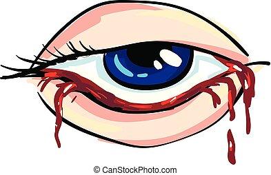 vetorial, olho mulher, ilustração, sangrento