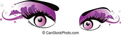 vetorial, olhos cor-de-rosa