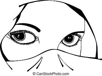 vetorial, olhos, mulher, véu, sob