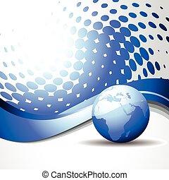 vetorial, onda, com, azul, terra
