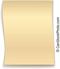 vetorial, ondulado, papel, amarela
