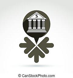 vetorial, operação bancária, símbolo, rendimento, fontes,...