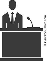 vetorial, orador, ícone