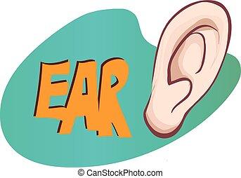 vetorial, orelha, ilustração