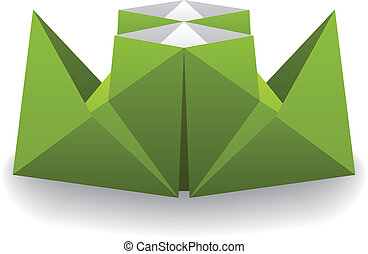 vetorial, origami, papel, vapor, bote