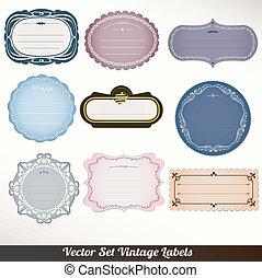 vetorial, ornamental, quadro, etiquetas, jogo