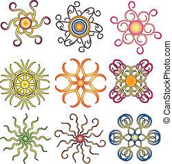 vetorial, ornamento, coloridos, cobrança
