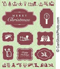 vetorial, ornamentos natal, e, quadro, jogo