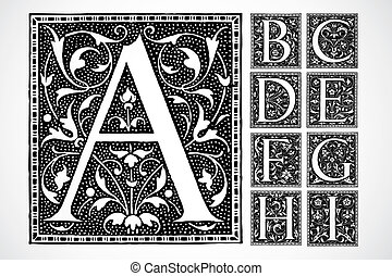 vetorial, ornate, alfabeto, a-i