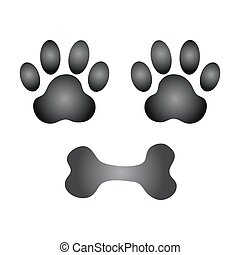 vetorial, osso cão, pata