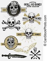 vetorial, ossos, jogo, pirata, cranio
