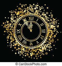 vetorial, ouro, ano novo, relógio