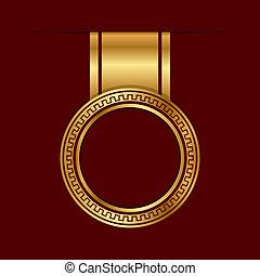 vetorial, ouro, etiqueta
