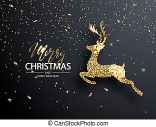 vetorial, ouro, ilustração, elegante, deer., fundo, natal, brilhar
