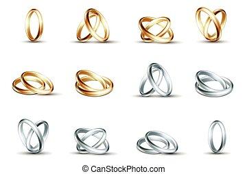 vetorial, ouro, isolado, prata, rings., fundo, casório, anel branco