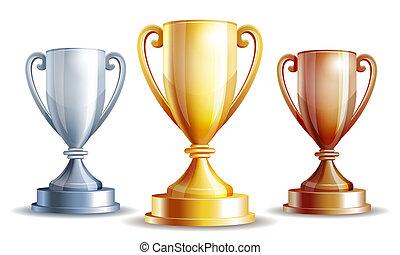 vetorial, ouro, prata, e, bronze, vencedores, cup.