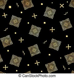 vetorial, ouro, seamless., pattern., seamless, óptico, pretas, ilusão