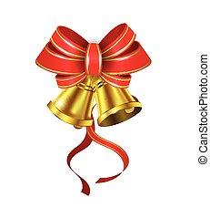 vetorial, ouro, sinos natal