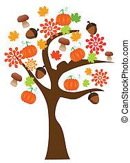 vetorial, outono, árvore