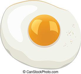 vetorial, ovo, fritado