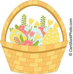 vetorial, ovos páscoa, flowers., primavera, cesta