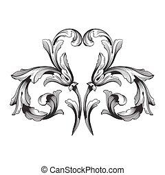 vetorial, página, decorações