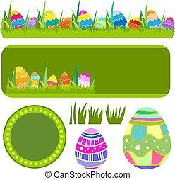 vetorial, páscoa, bandeira, borda, ovos