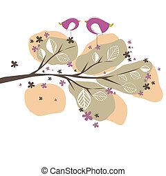 vetorial, pássaros, árvore., fundo, ilustração