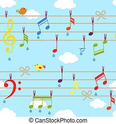 vetorial, pássaros, e, música