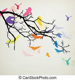 vetorial, pássaros, ramo