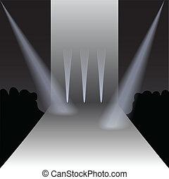 vetorial, pódio, com, holofotes, e, espectadores