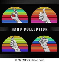 vetorial, pôr do sol, retro, ilustração, mão
