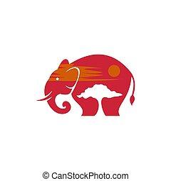 vetorial, pôr do sol, safari, elefante