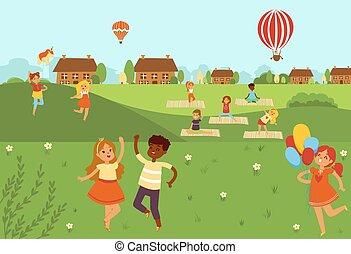 vetorial, país, pular, atividades, apartamento, natureza, ioga, físico, illustration., crianças, ao ar livre, exercises., esportes