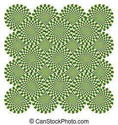 vetorial, padrão, óptico, fundo, fiar, ilusão, ciclo