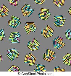 vetorial, padrão, 80s., seamless, experiência., retro, memphis, style.