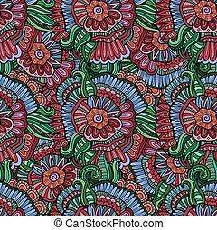vetorial, padrão, abstratos, flores, seamless