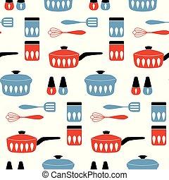 vetorial, padrão, cozinhar, seamless, alimento., cookware
