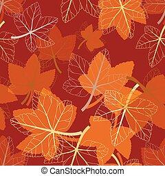 vetorial, padrão, leaves., seamless, floral, outono