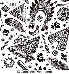 vetorial, padrão, seamless, símbolos, indian americano, ...