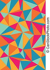 vetorial, padrão, triângulos, cor, costas