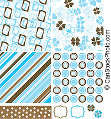 vetorial, padrões, elementos, desenho, scrapbook