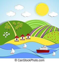 vetorial, paisagem, sol, colinas, verde, mar