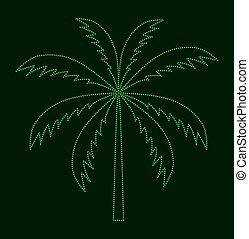 vetorial, palma, árvore., silueta, illustration.